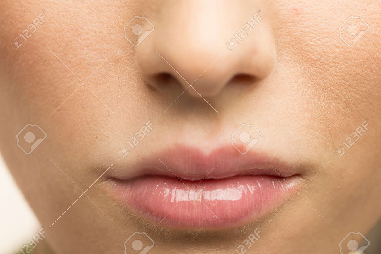 Lips painted lip gloss Stock Photo - 50436303