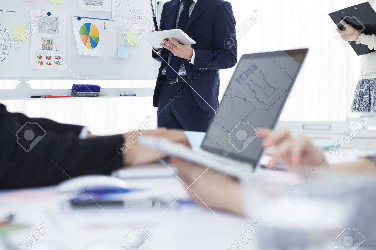 Young businessman who is in the strategy meeting in the office Stock Photo - 50590941