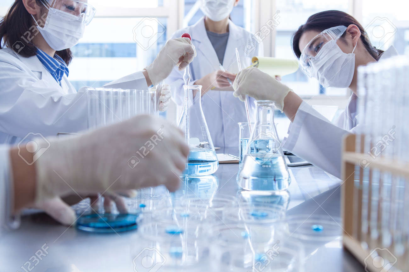 Scientist in laboratory examining liquid in Erlenmeyer flask. - 60458396