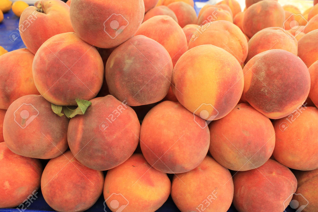 Peaches On A Large Harvest Table Turkey Juicy Ripe Summer Fruit Stock Photo    46123893