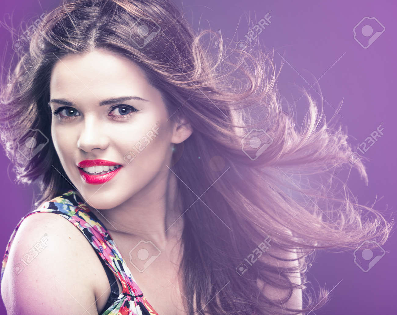 Stock photo woman hair style fashion portrait isolated close up female face