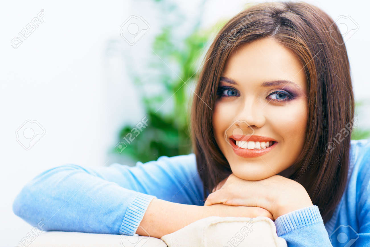 Toothy smiling girl close up portrait. Long hair young model. - 85170889