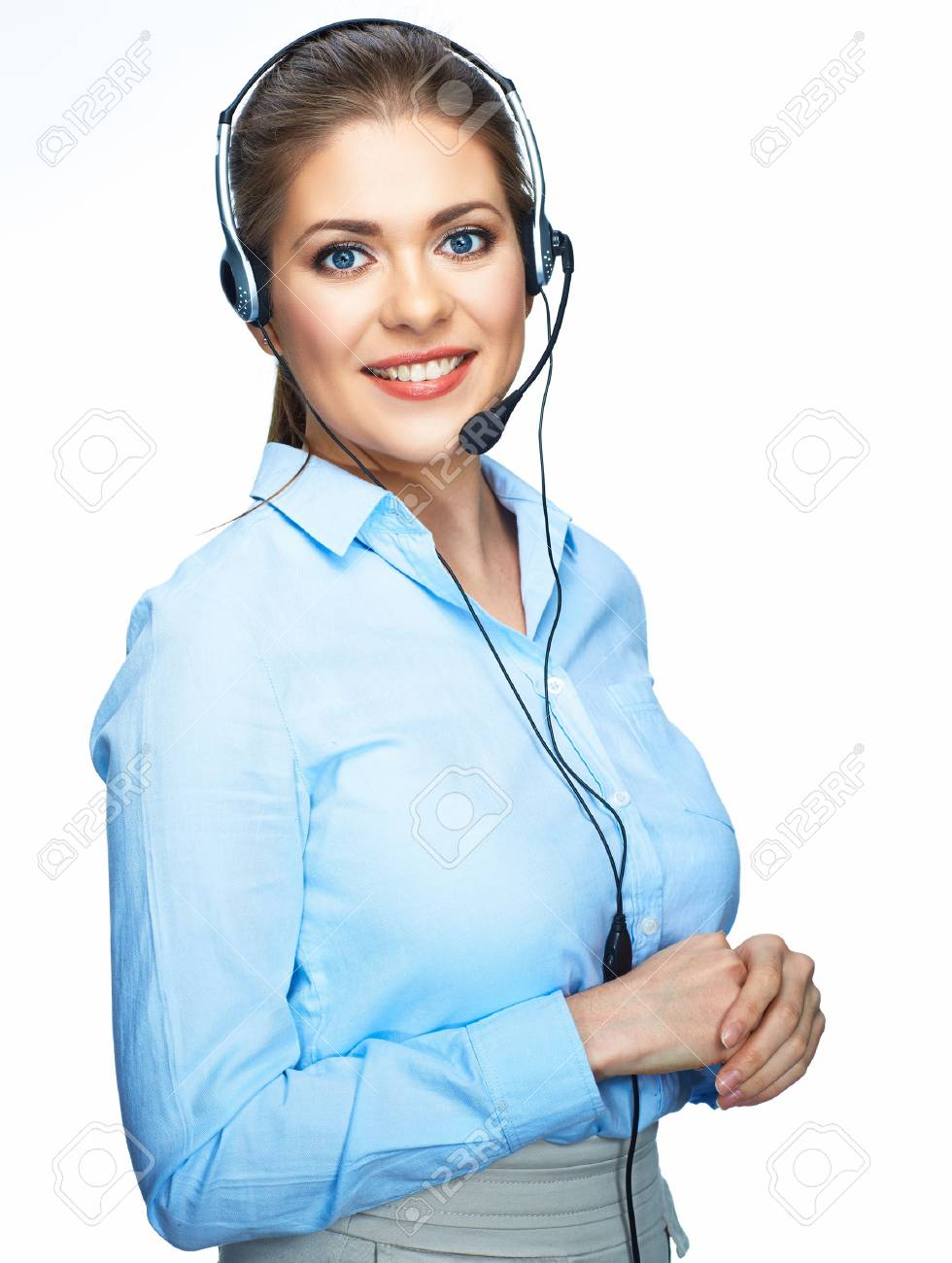 Toothy smiling office worker operator. Business woman isolated white background portrait. - 85398219