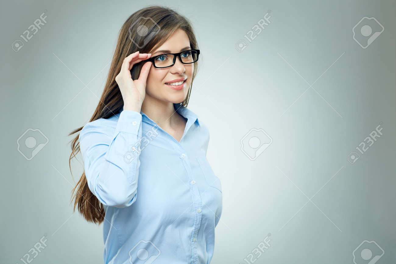 Young businesswoman isolated studio portrait. Smiling girl wearing glasses. - 125068853