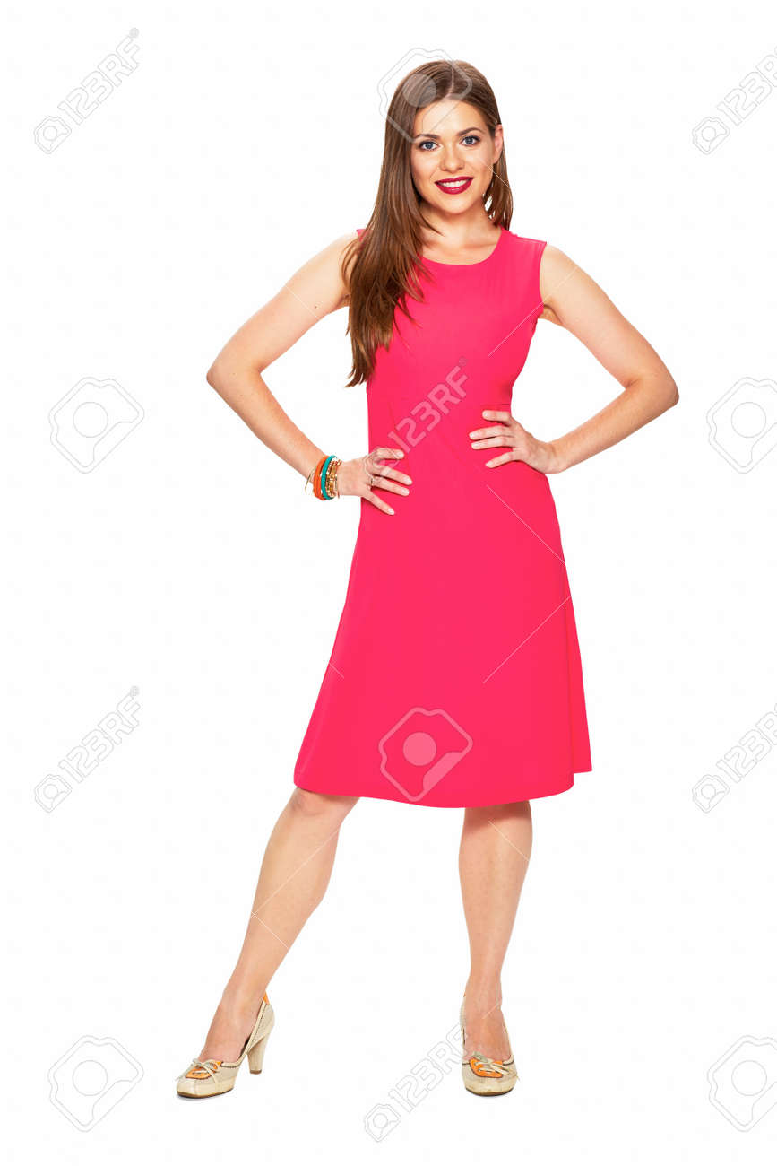 Red dress. Full body. Smiling model. Young woman white background portrait. - 128364804