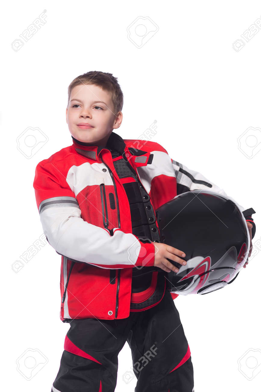 Race car or bike driver. The boy in the costume of the racer holding a  sc 1 st  123RF.com & Race Car Or Bike Driver. The Boy In The Costume Of The Racer.. Stock ...