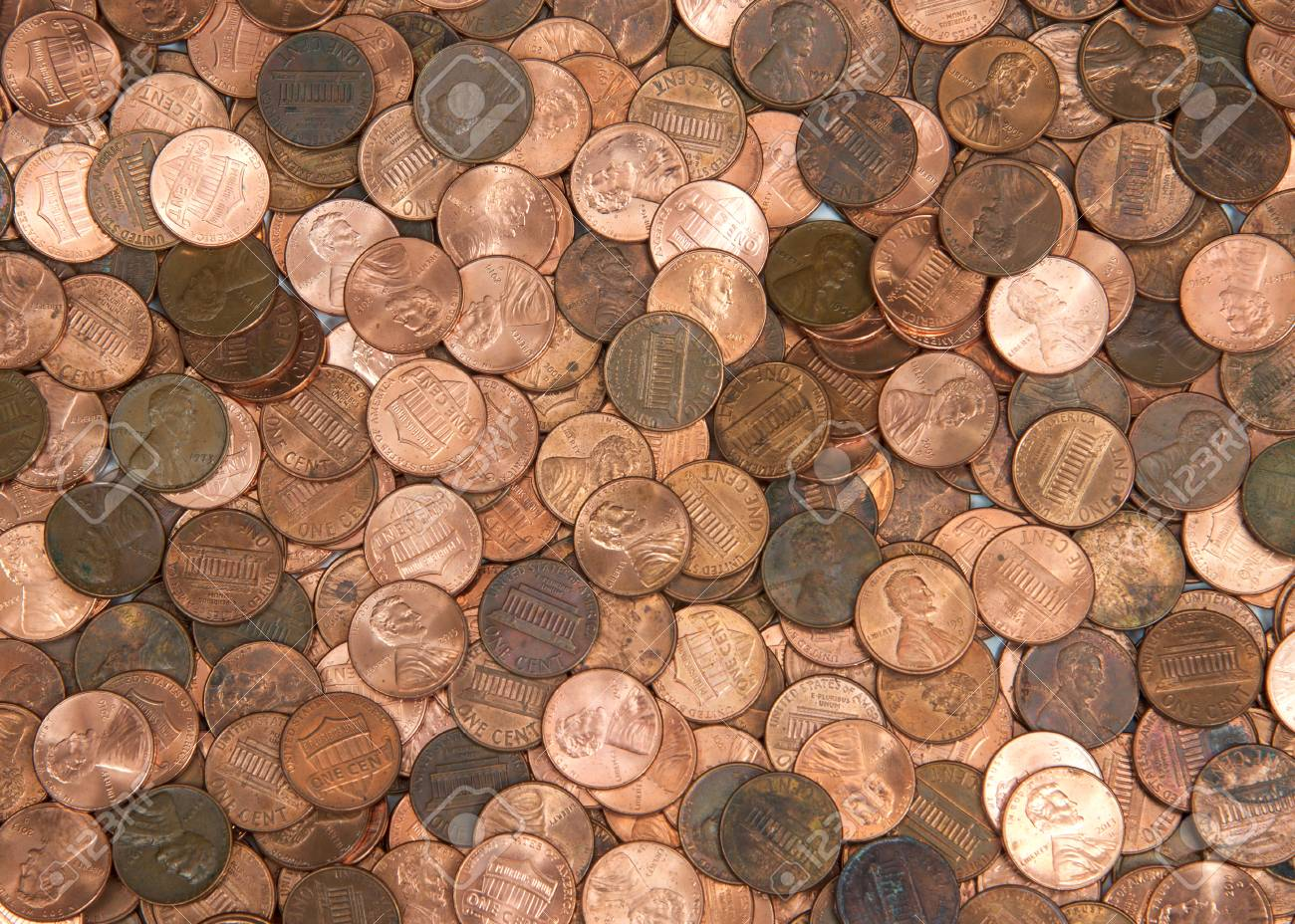 Flat view pennies  United States currency penny, many old new