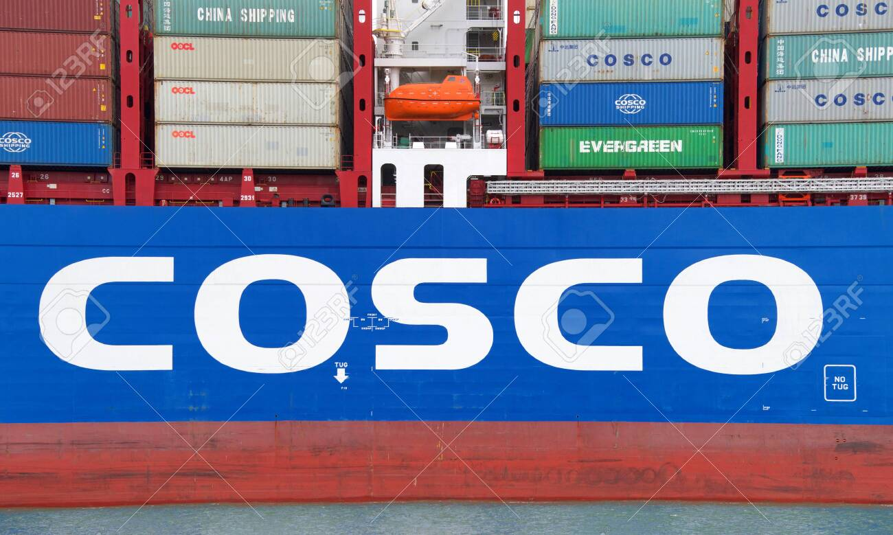 Oakland, CA - May 16, 2019: COSCO SHIPPING ROSE departing the