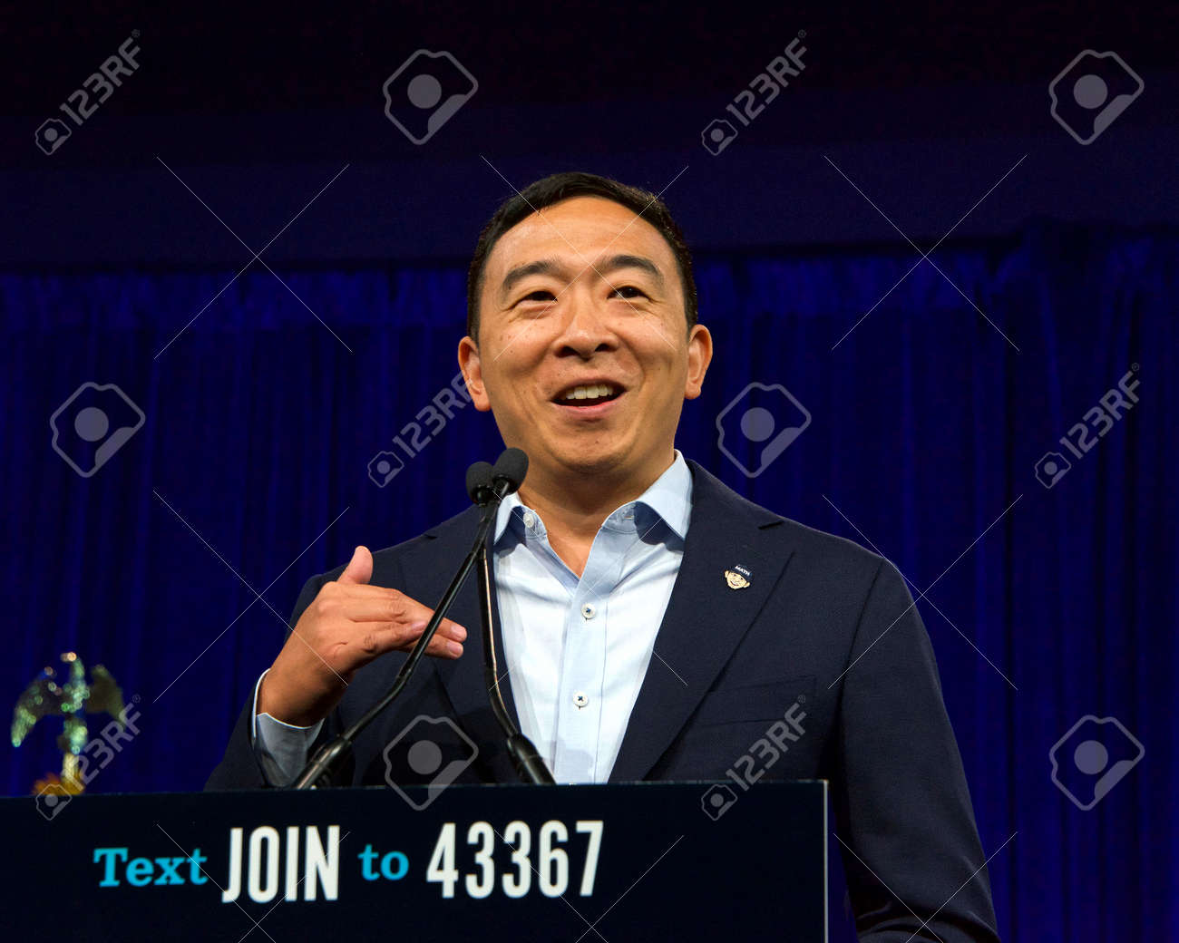 San Francisco, CA - August 23, 2019: Presidential candidate Andrew