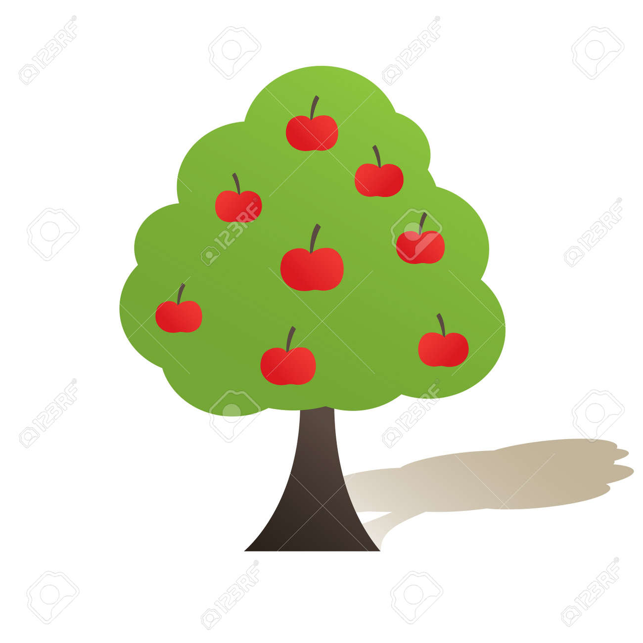 Green tree with apple. Vector illustration Stock Vector - 7867444