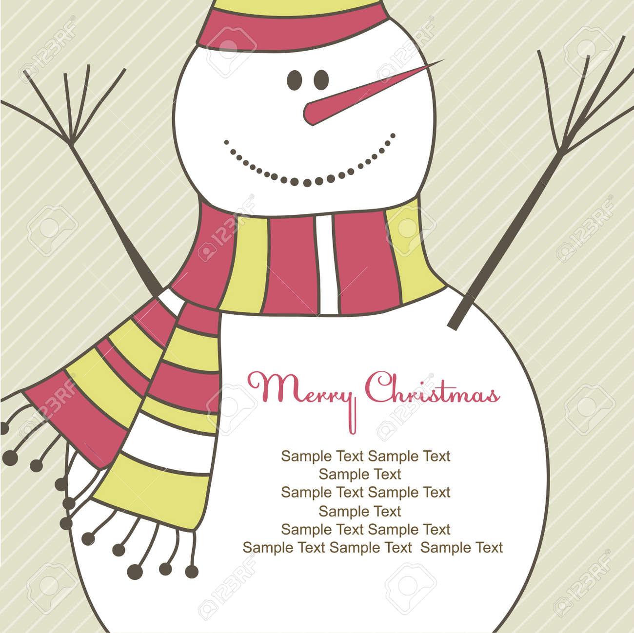 Christmas card with Snowman. Vector illustration Stock Illustration - 7867476
