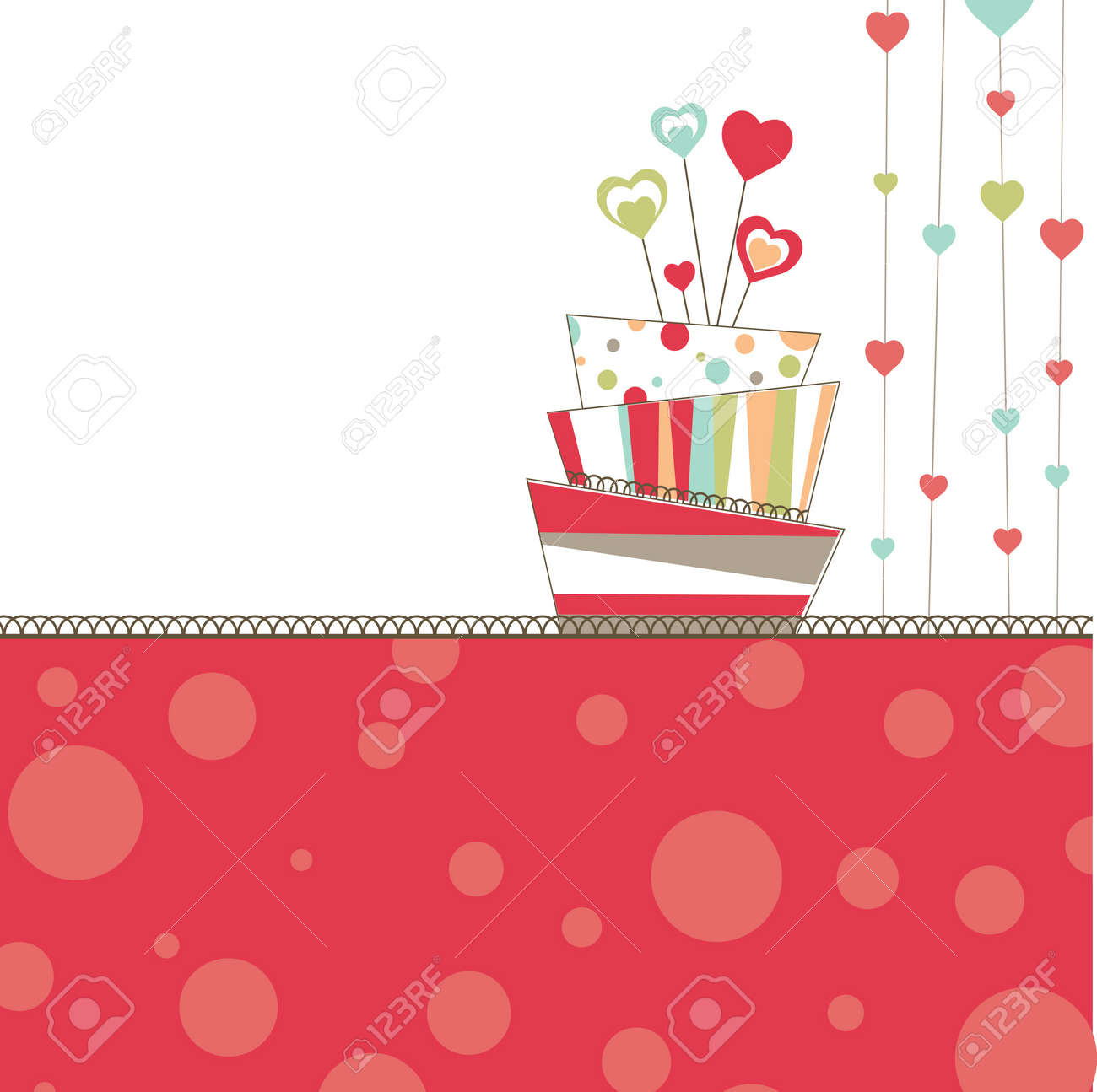 Valentine's background with cake Stock Vector - 8877252