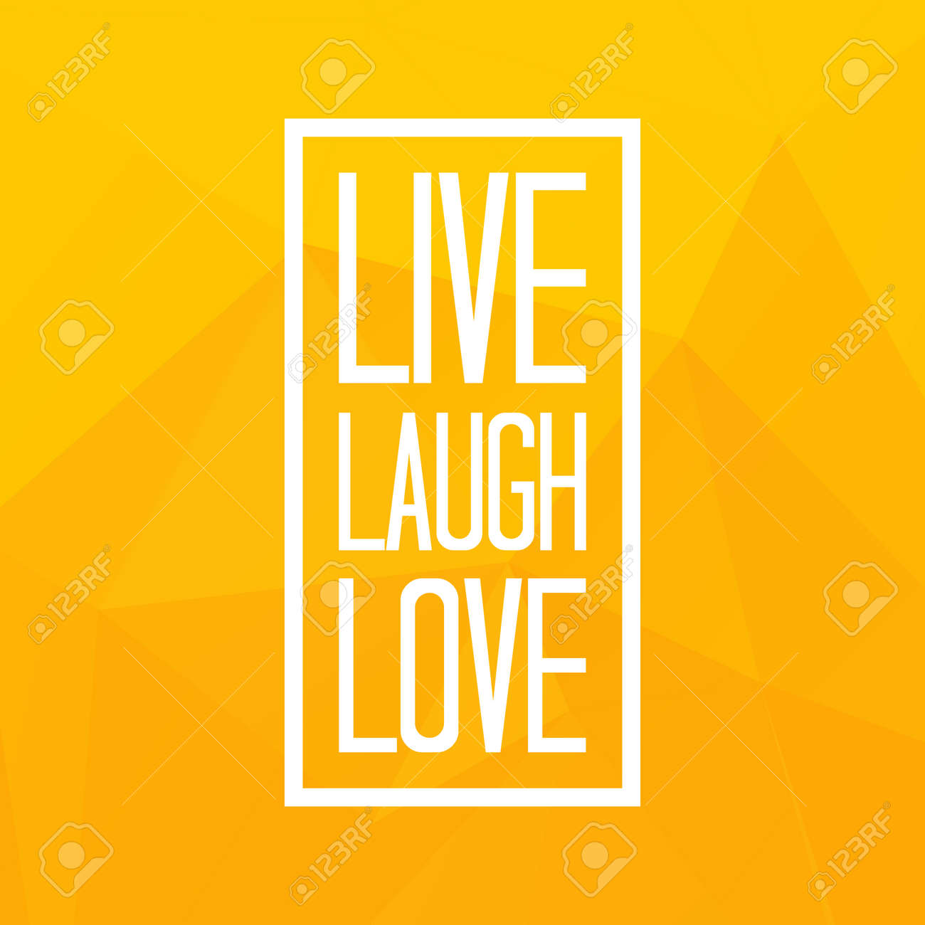 Live laugh love quote on triangulated low poly background. Vector..