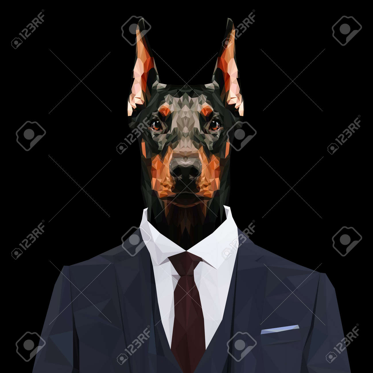 Doberman Pinscher Dog Animal Dressed Up In Navy Blue Suit With Royalty Free Cliparts Vectors And Stock Illustration Image 60979010
