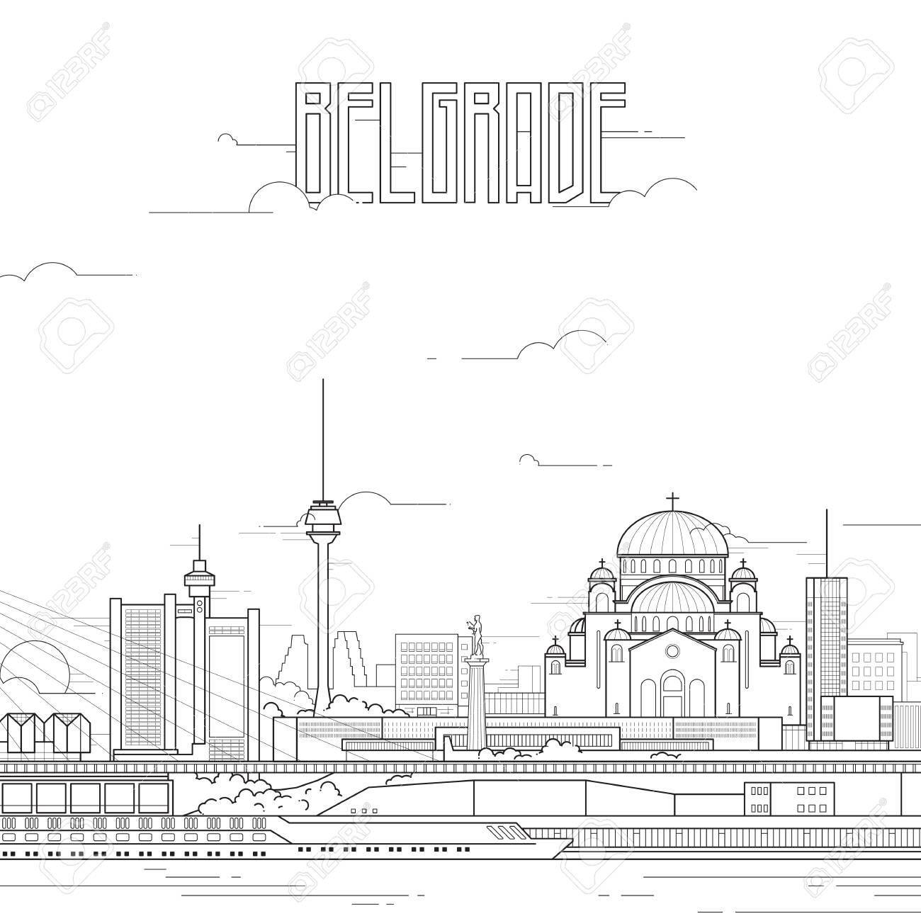 Belgrade city with iconic buildings - 71749352