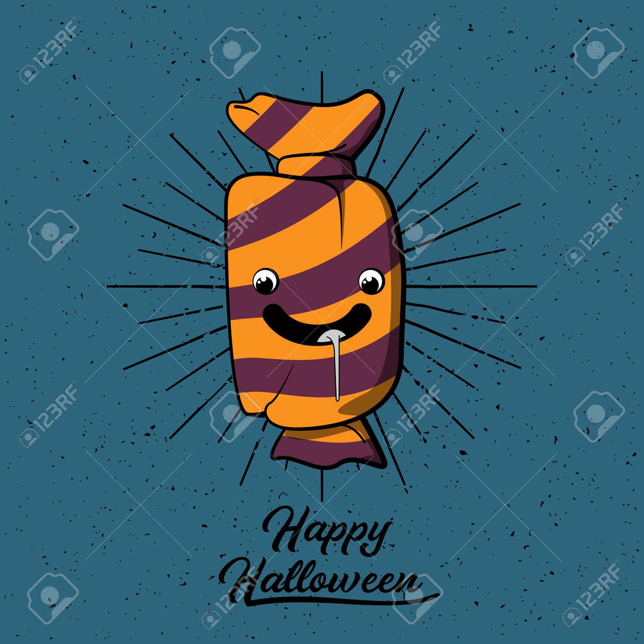 halloween candy cartoon happy halloween sign vector illustration rh 123rf com Halloween Moon Vector Halloween Silhouette
