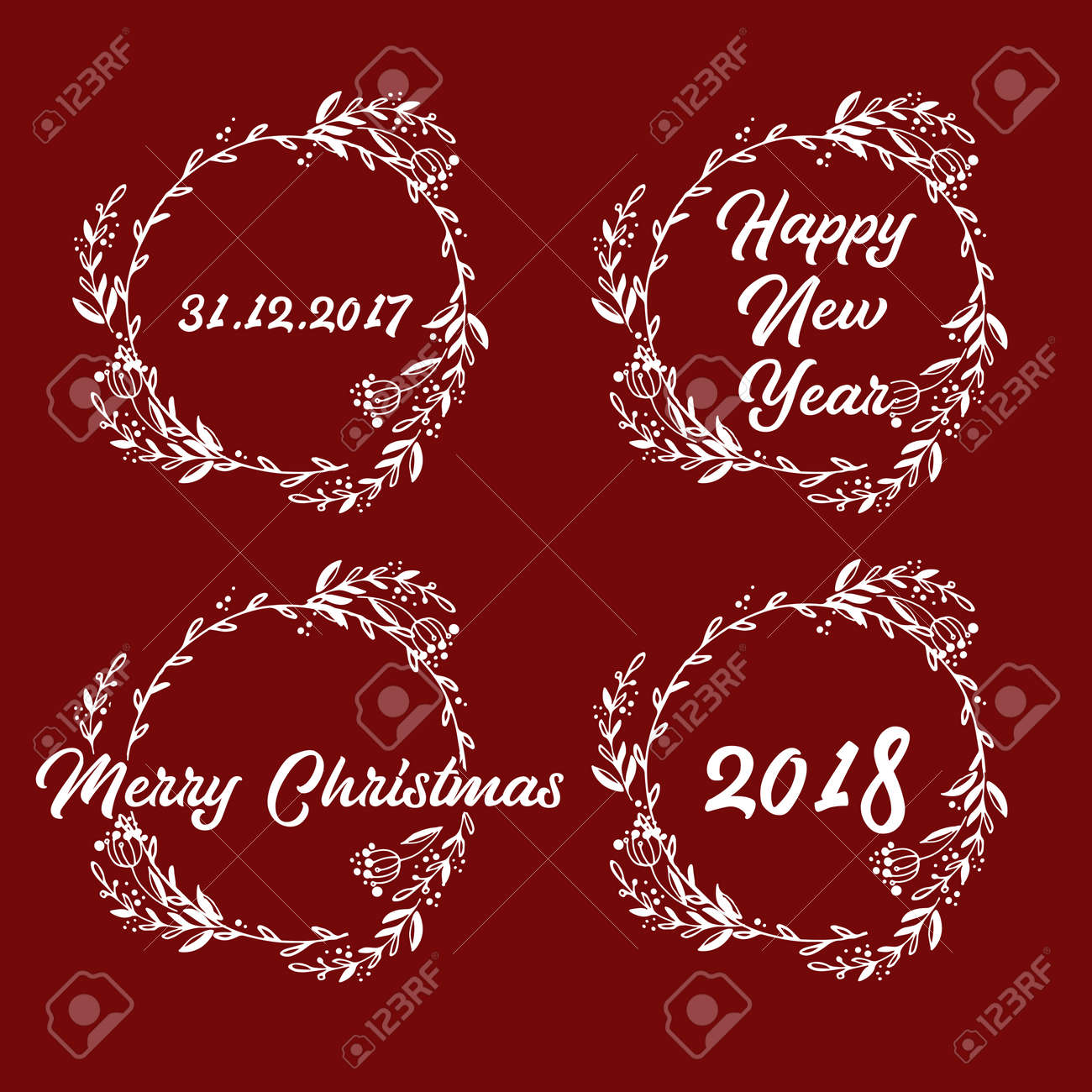 New Year And Merry Christmas Signs In Wreath. Vector Illustration ...