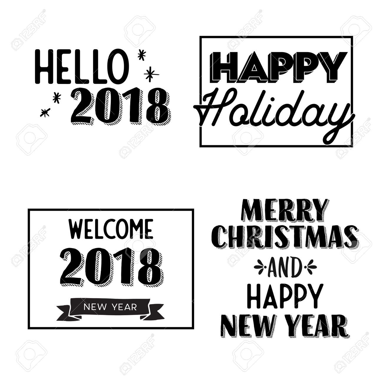 New Year And Merry Christmas Signs Gray And White Vector