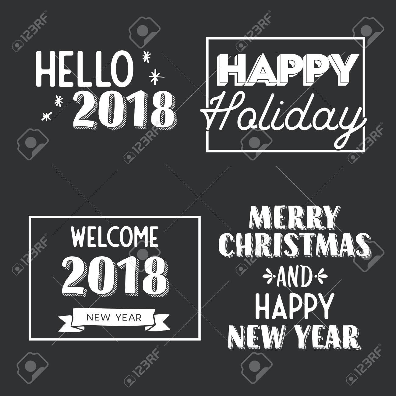 New Year And Merry Christmas Signs Gray And White. Vector ...
