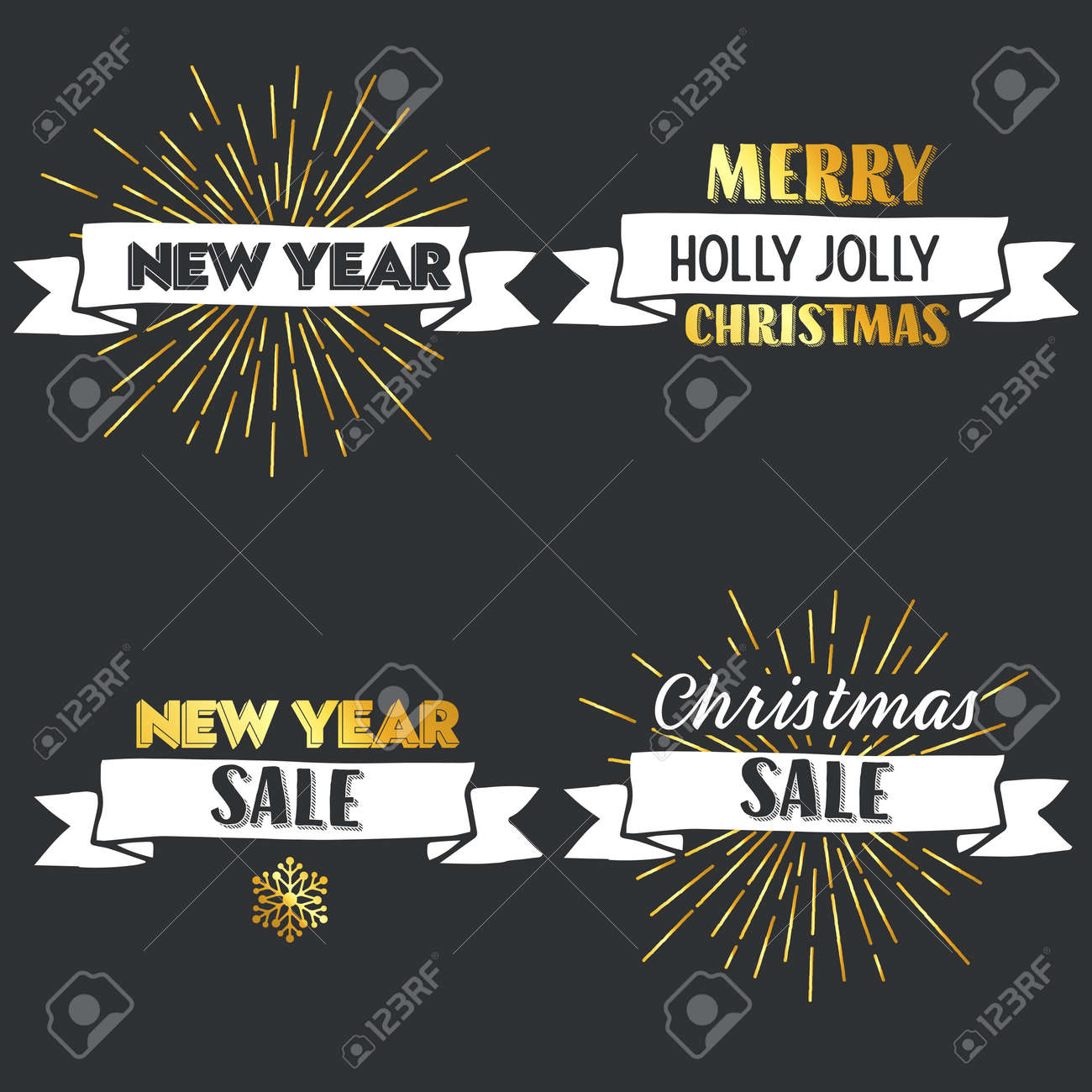 New Year And Merry Christmas Signs With Golden Elements. Vector ...