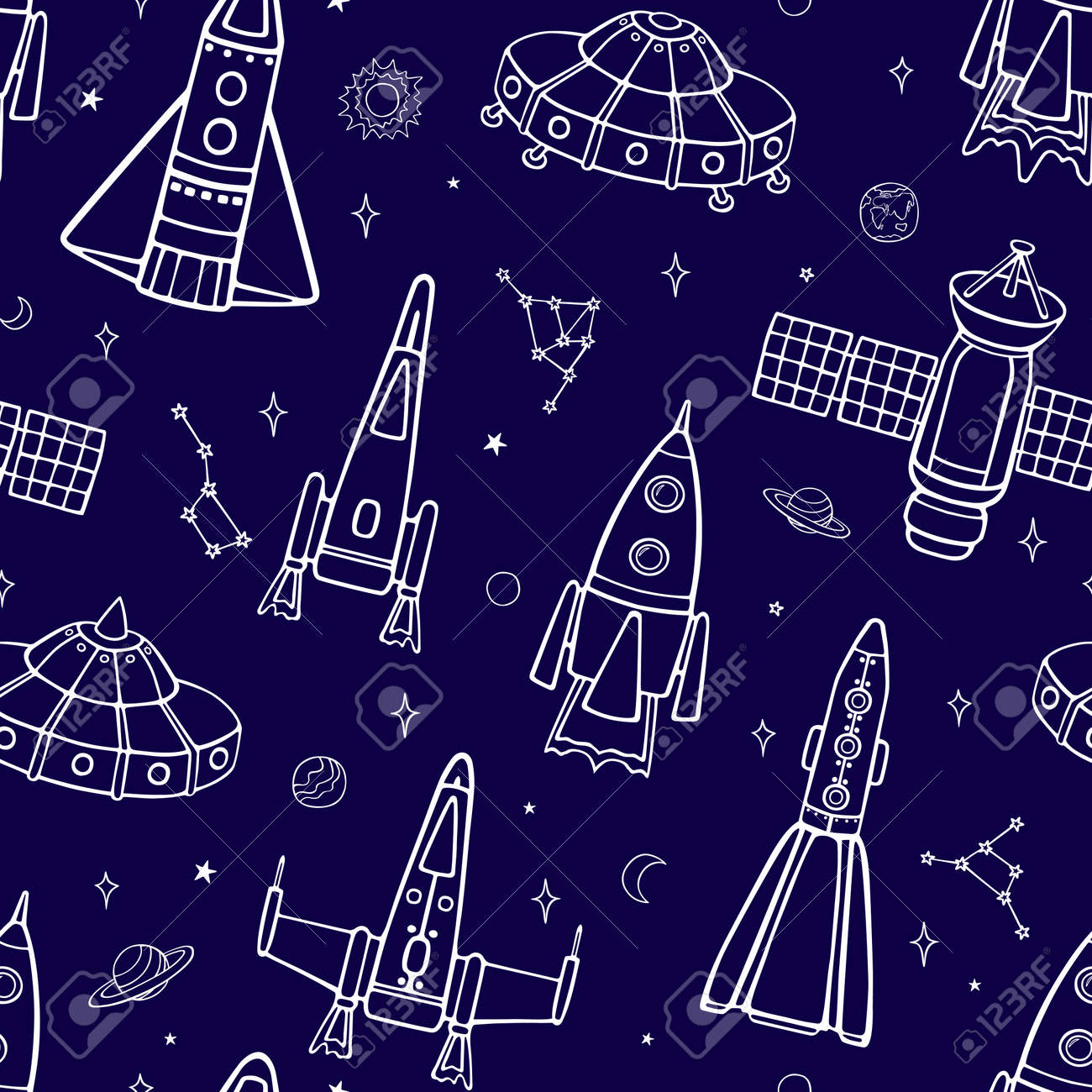 Cartoon flying spaceships in outer space among the planets and stars. Seamless vector pattern on a blue background. - 165461030