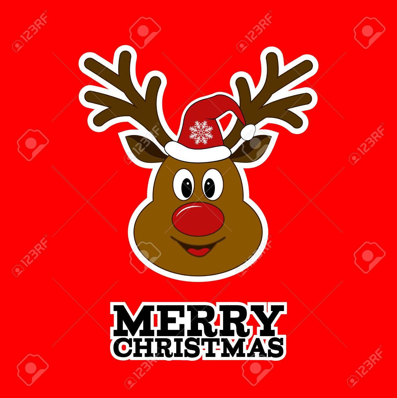 Rudolph Rentiere. Fröhliche Weihnachten. Weihnachtsmann Rentiere ...
