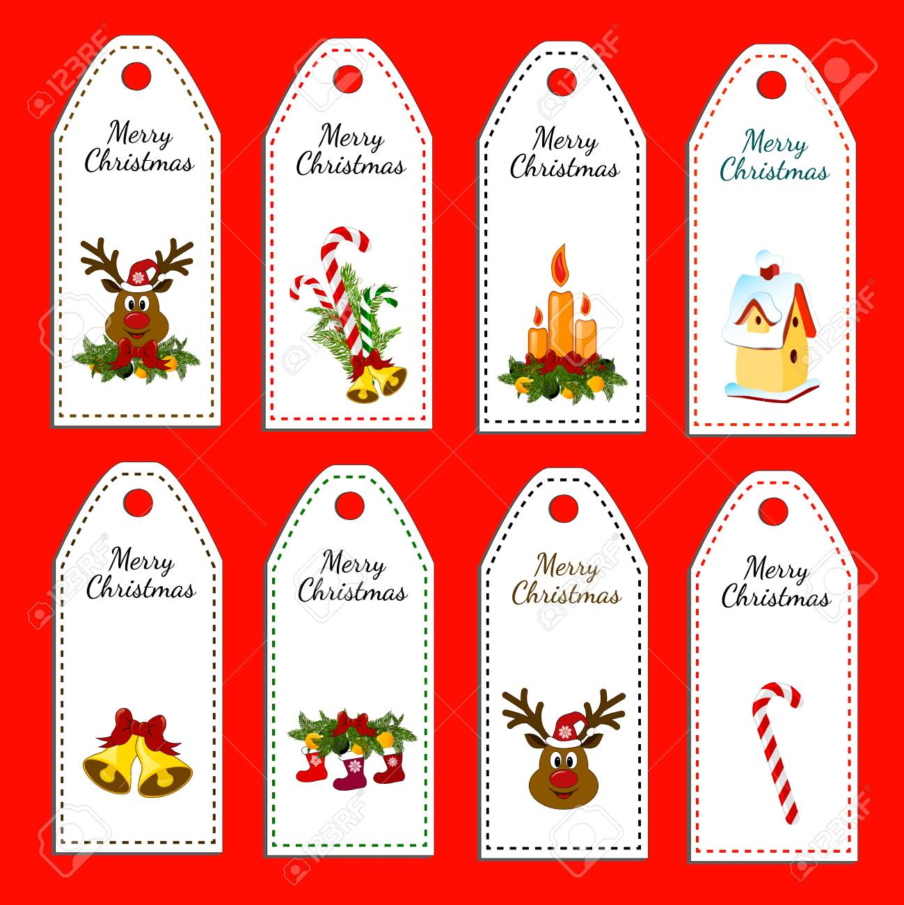 Set Of Eight Holiday Christmas Labels. Stickers. Card With Jingle ...