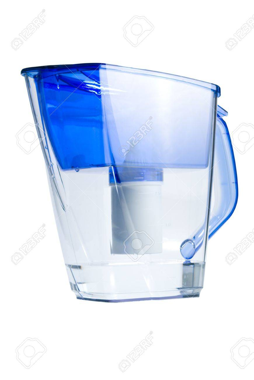 Clear water filter pitcher  Isolated on white background