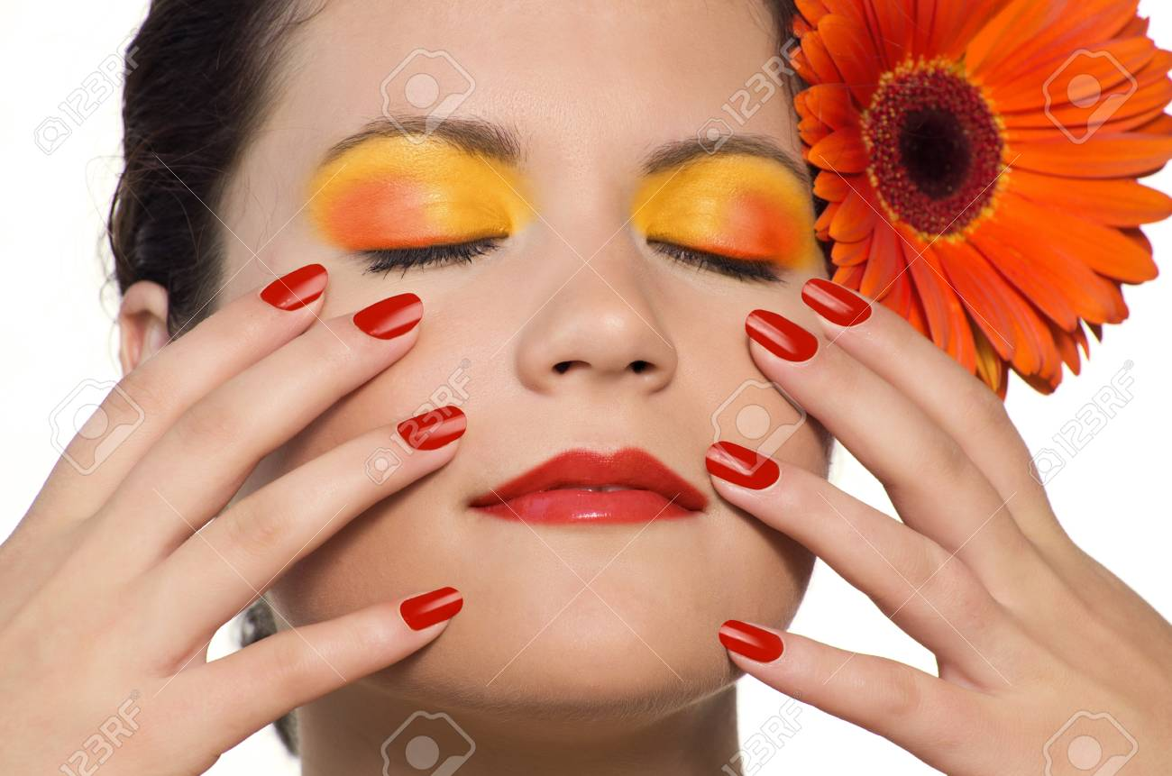 Skincare of young beautiful woman face with fresh flower. Isolated on white background Stock Photo - 10291378