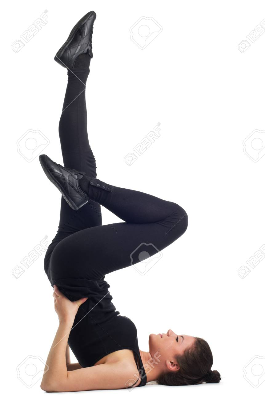 Attractive young caucasian brunette woman exercising  Isolated against a white background Stock Photo - 12646999
