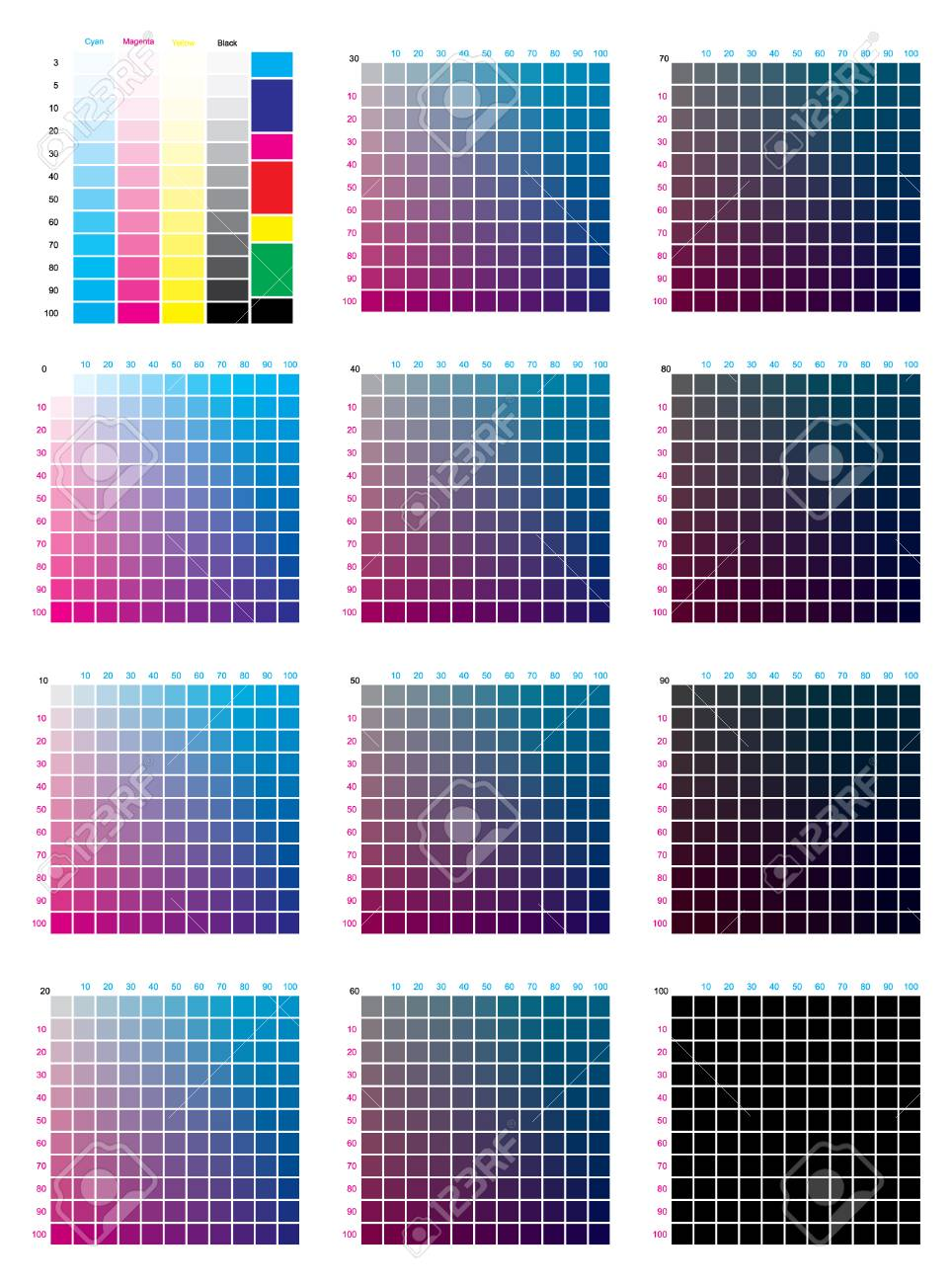 Cmyk Press Color Chart Vector Color Palette Cmyk Process Printing