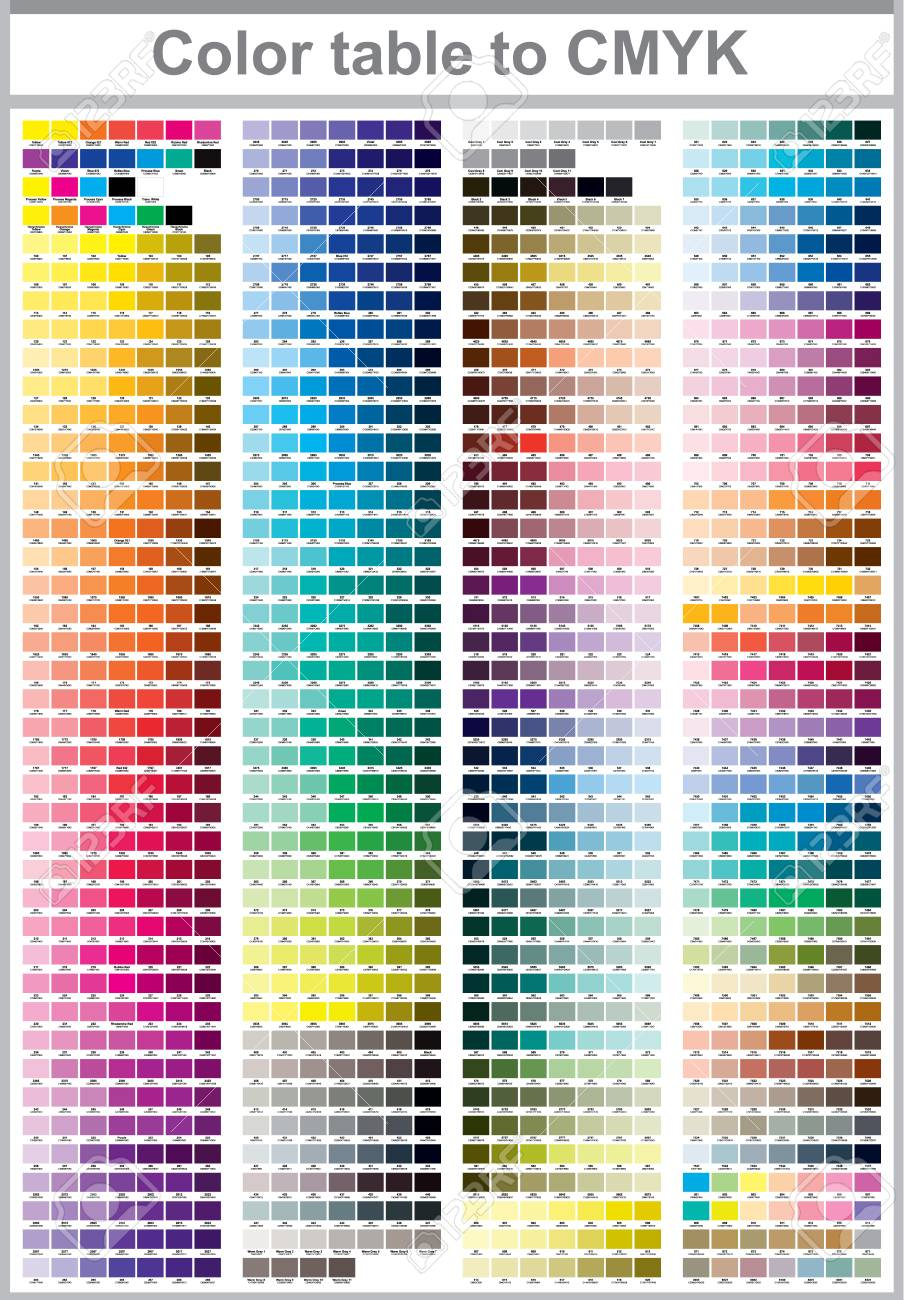 Color Table Pantone To Cmyk Color Print Test Page Illustration