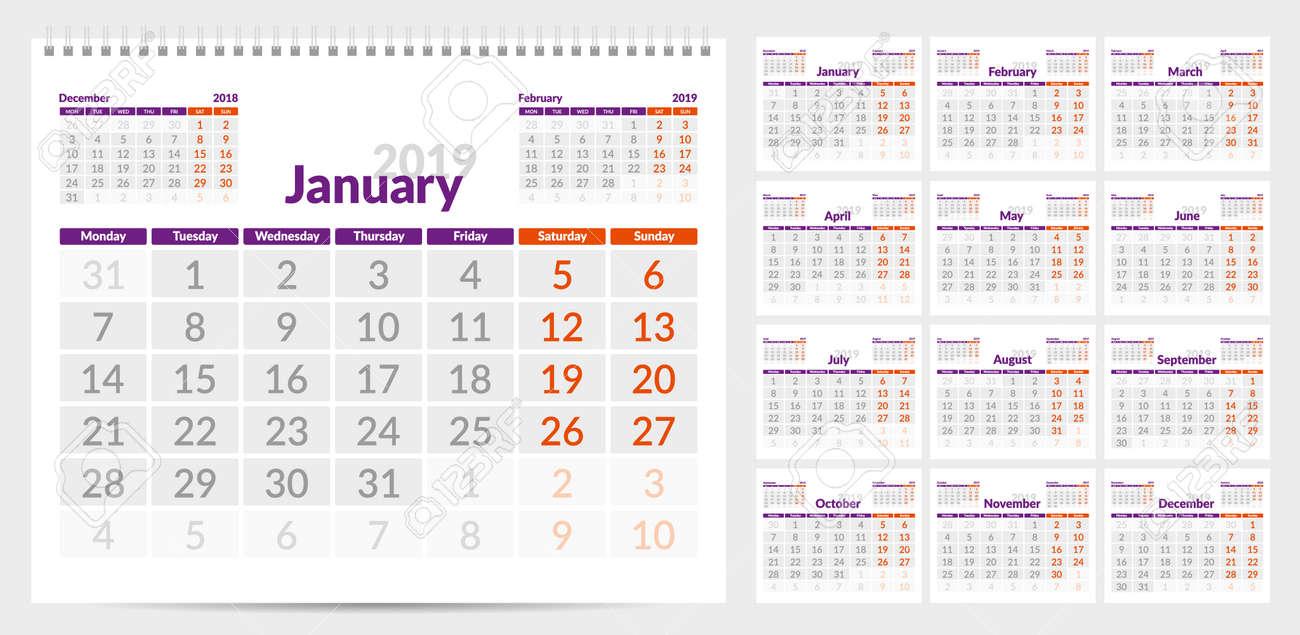 Calendar 2019 Week Start From Monday Set Of 12 Months Ready