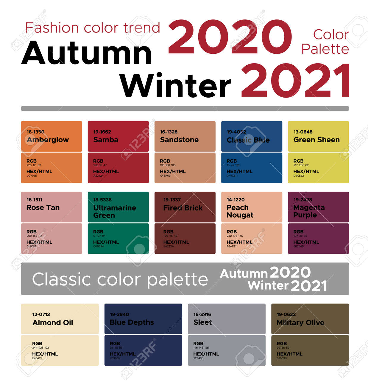Fashion Color Trend Autumn Winter 2020 2021 Palette Fashion Royalty Free Cliparts Vectors And Stock Illustration Image 141345636