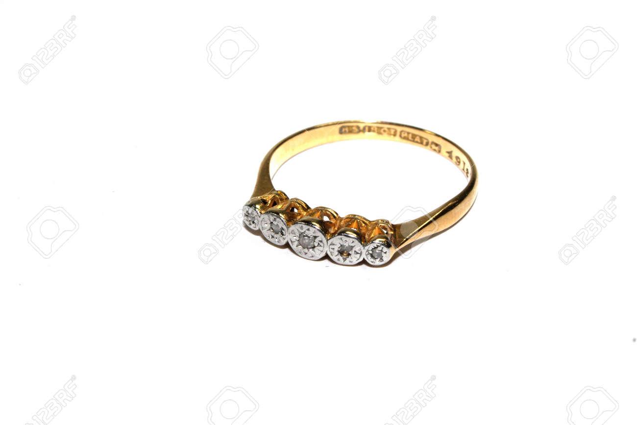 Ladies Vintage Antique Gem Jewellery On White Background - 148610244