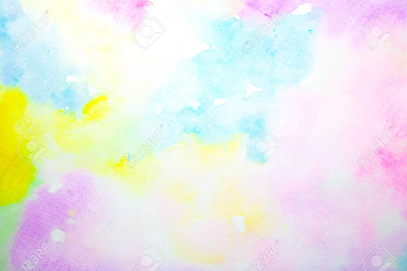 A Gentle Watercolour Blurred Painted Rainbow Colours for Background - 157477026