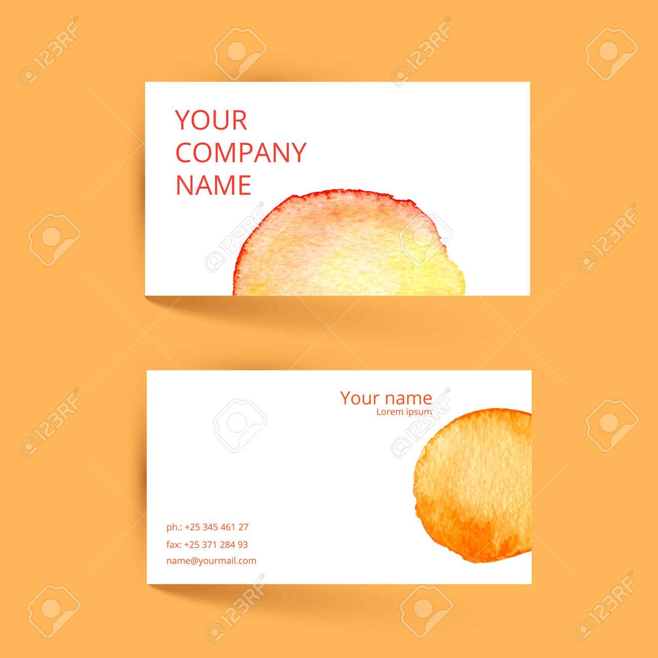 business card template vector watercolor orange design vector
