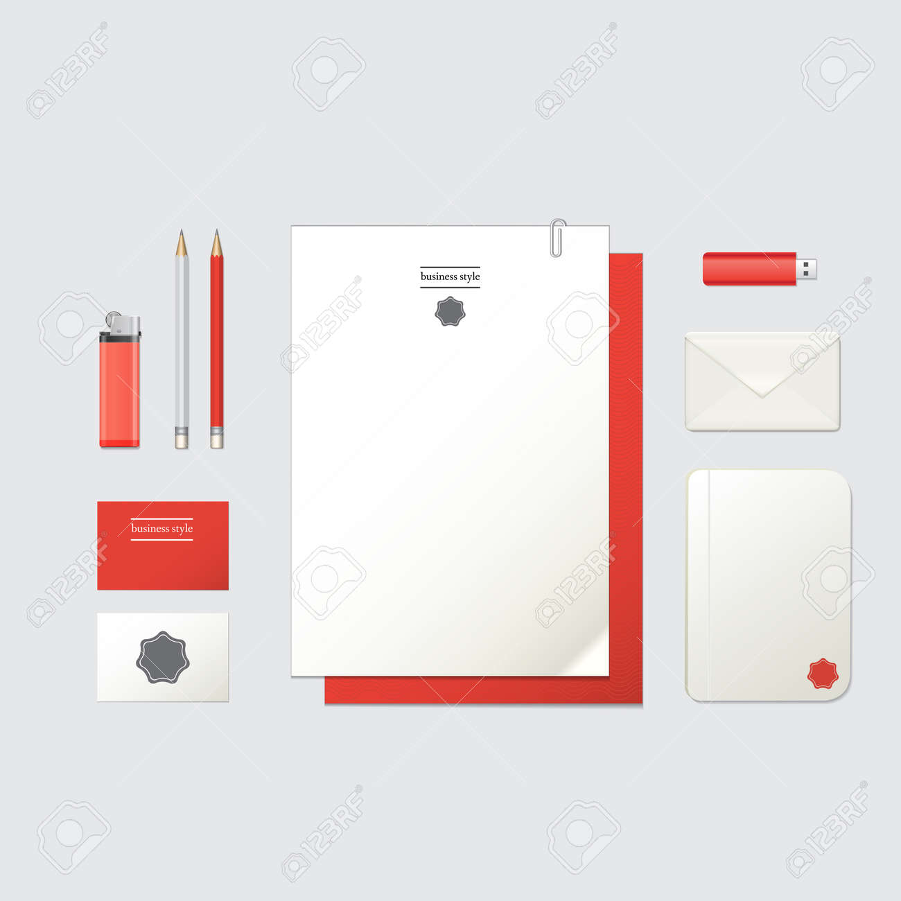 Corporate identity template blank business cards envelope blank business cards envelope pencils flash drive lighter notepad with corporate sign isolated with soft shadows red and white colors reheart Gallery