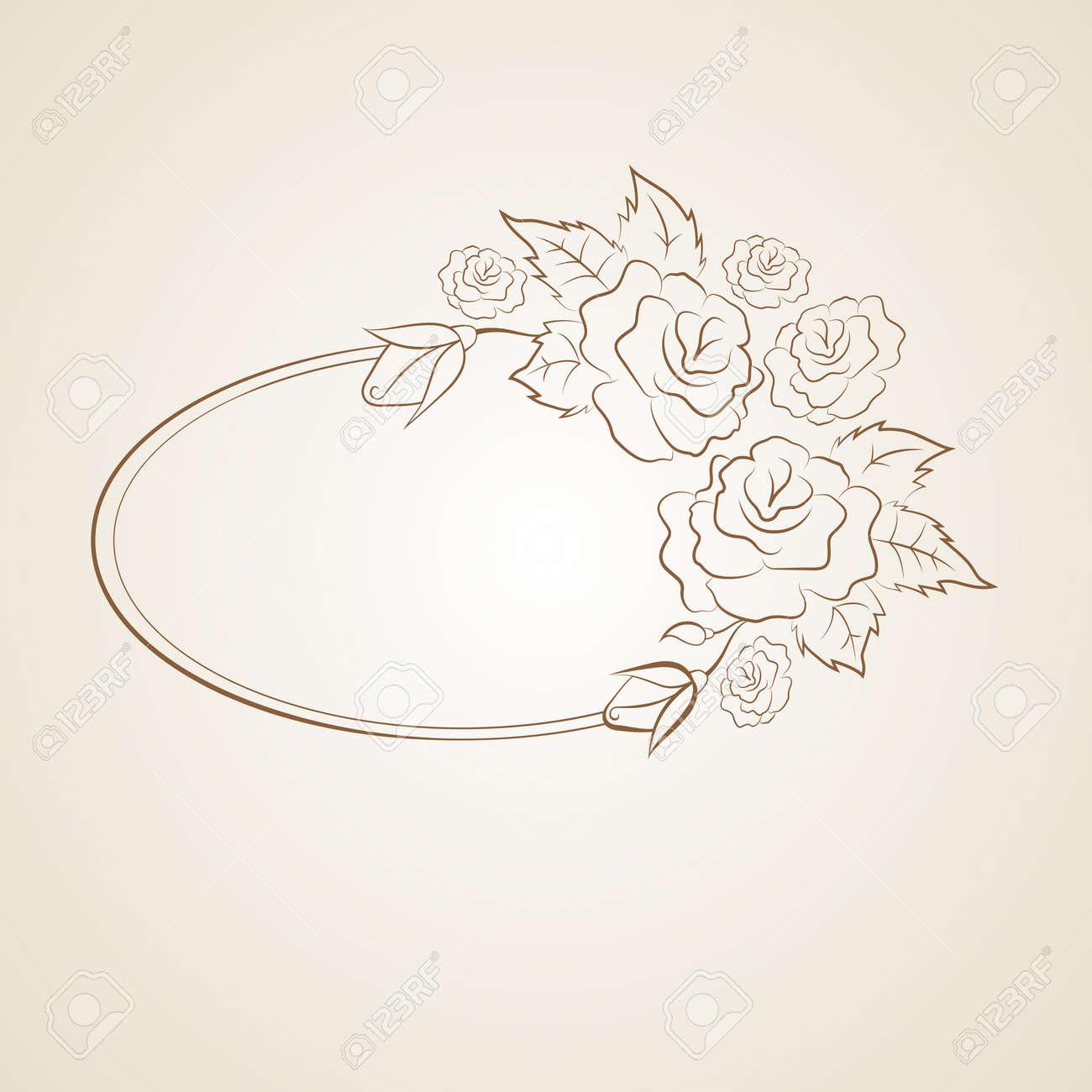 Marco Oval De La Vendimia Con Las Rosas Y El Espacio Para Usted ...