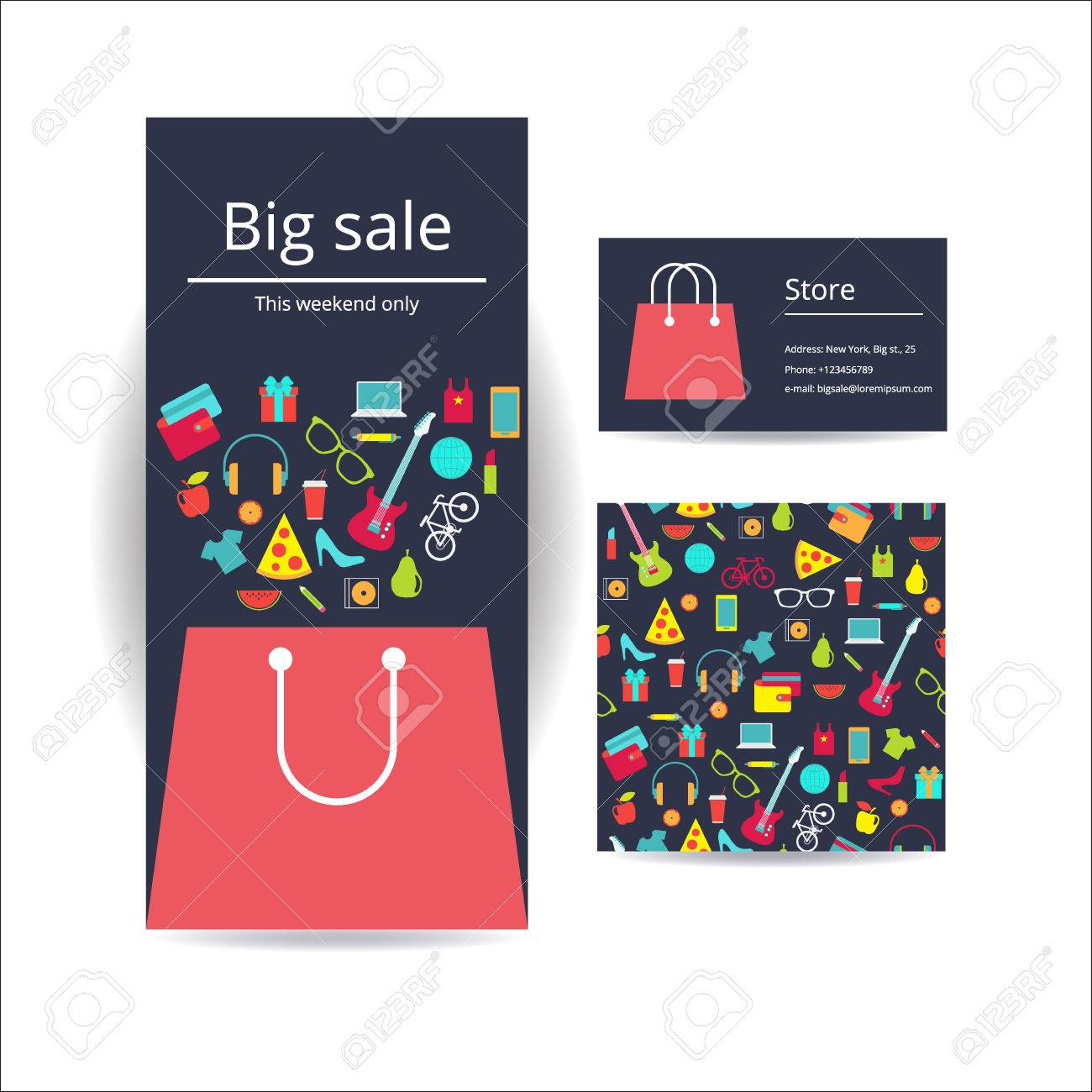 Business Brochure Flyer Banner, Business Card And Card With Seamless ...