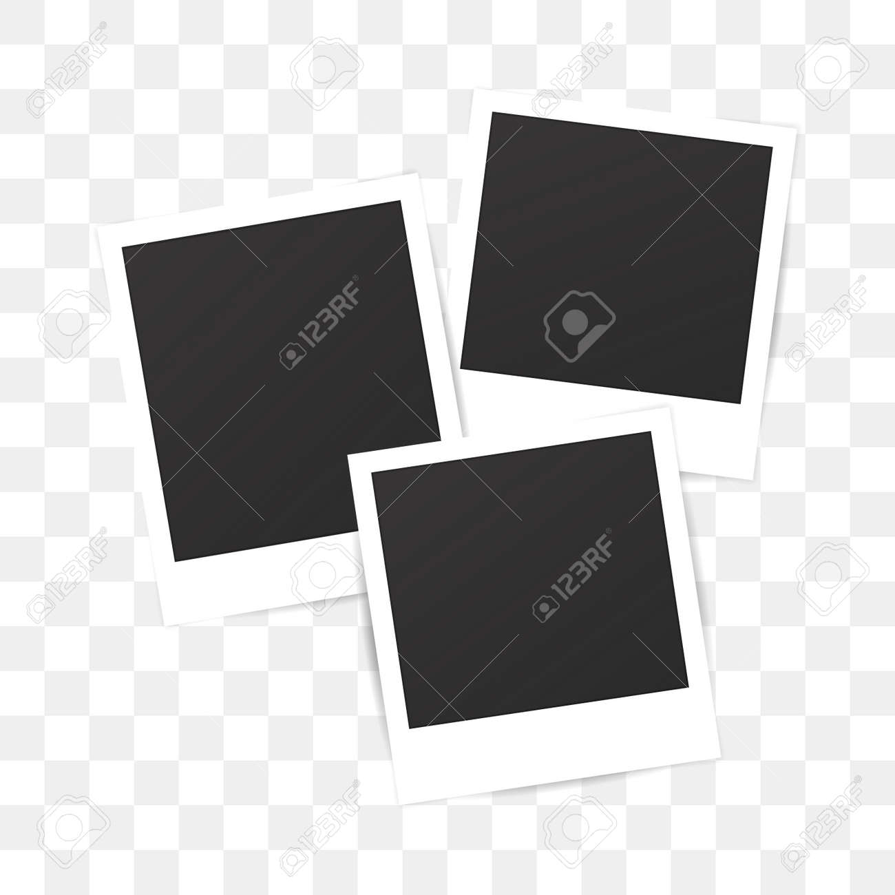 Blank Set Photo Polaroid Frame On Transparent Background Shadow Effect For Your Photography Mockup
