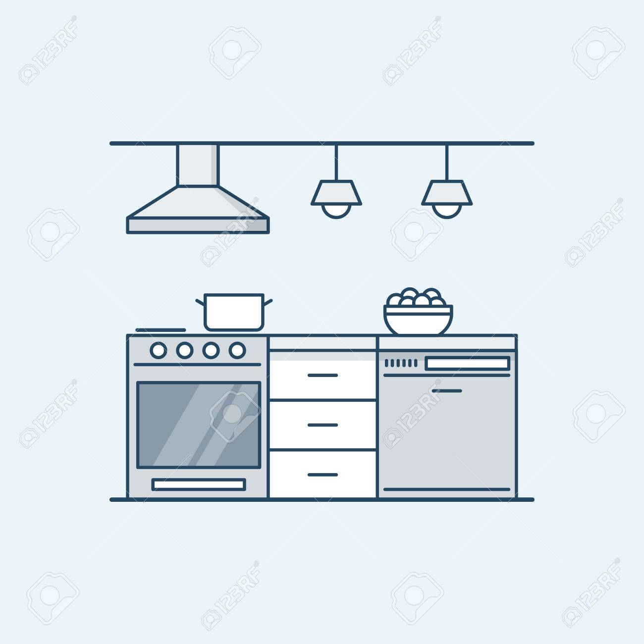 Modern Kitchen Interior With Gas Stove And Dishwasher Built In Appliances Vector Illustration