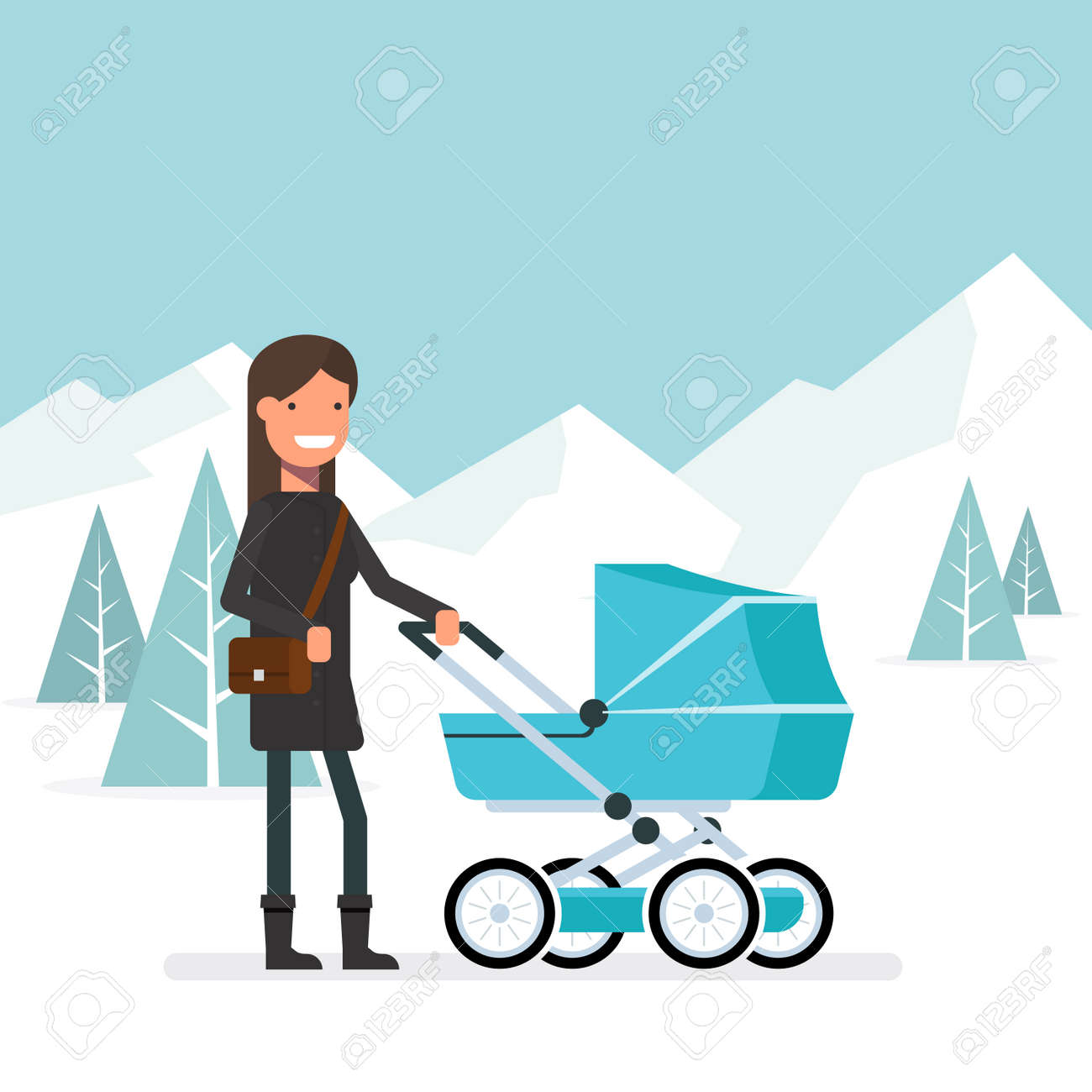 size 40 0af6f e3f72 Woman in the winter for a walk with the baby in the pram. Girl..