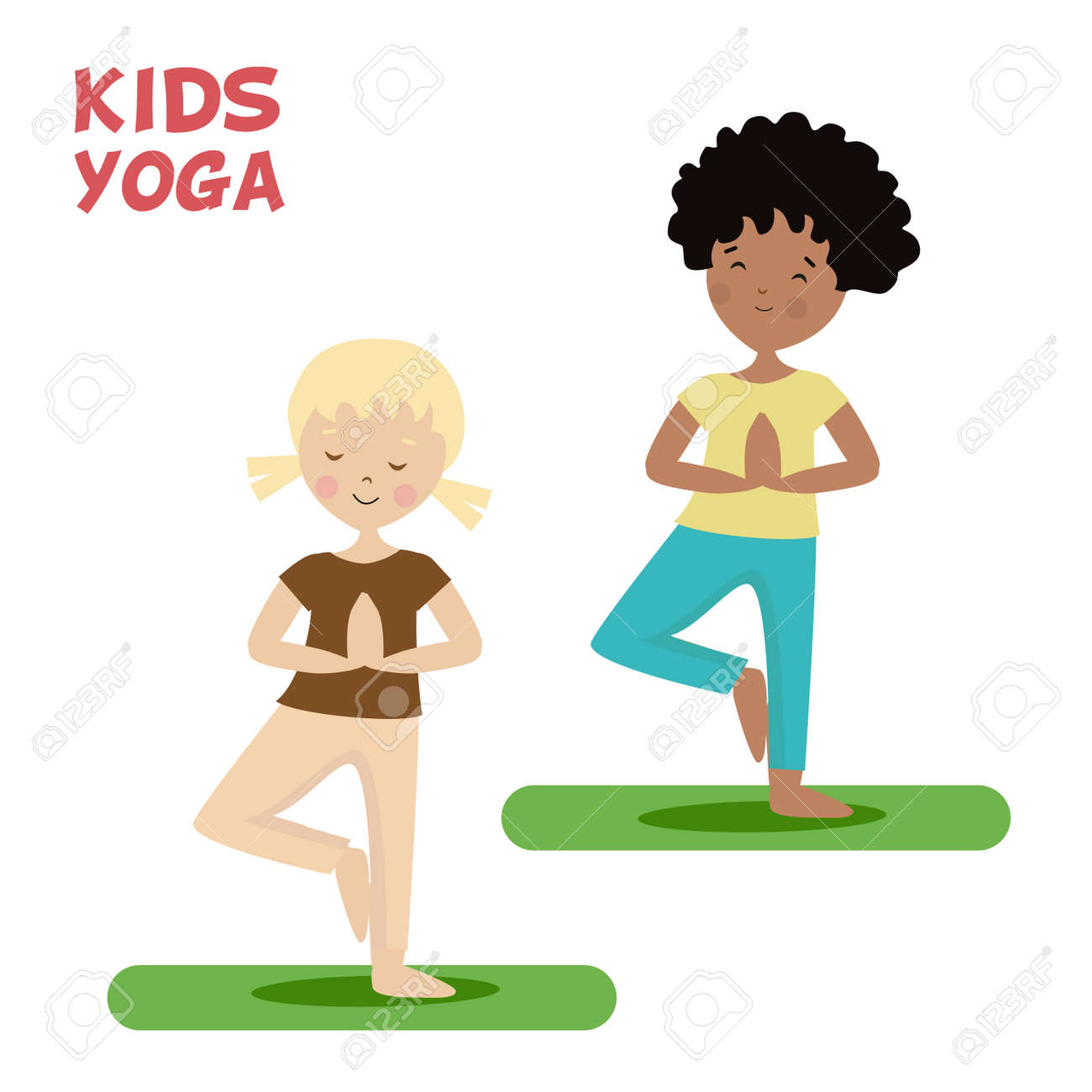 Girl And Boy Are Engaged In A Kids Yoga Sports Or Exercise Cartoon Flat