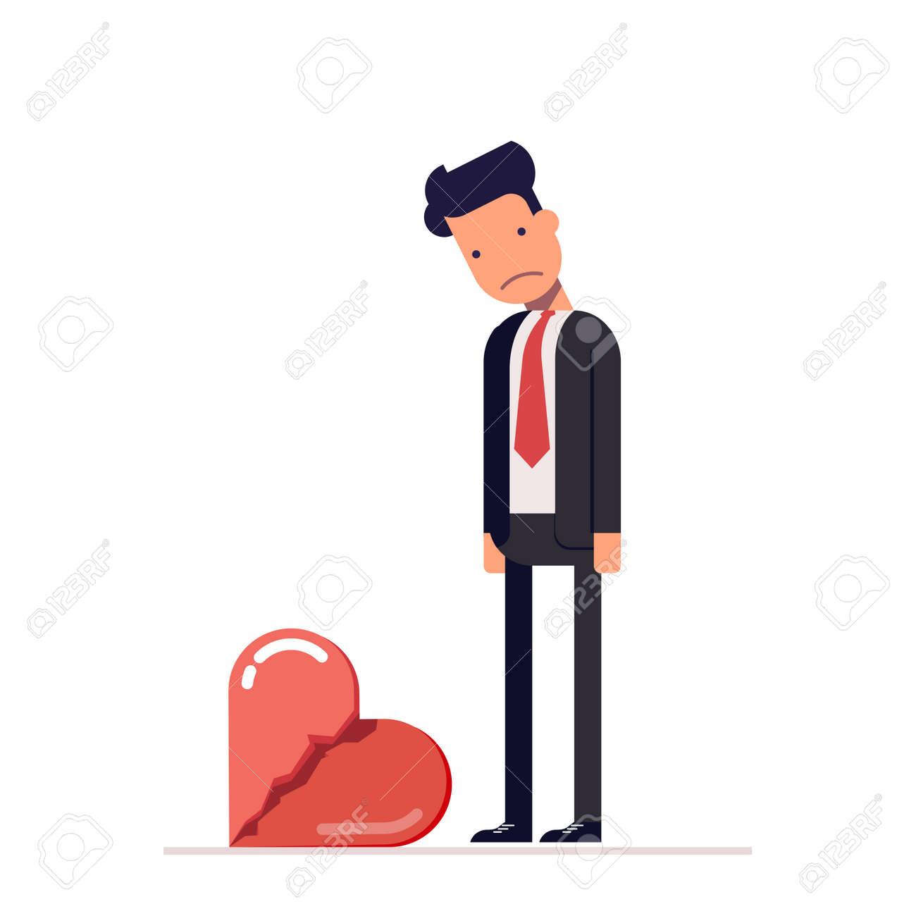 Corazón Roto. Hombre Triste En Un Traje De Negocios. Divorcio En La ...