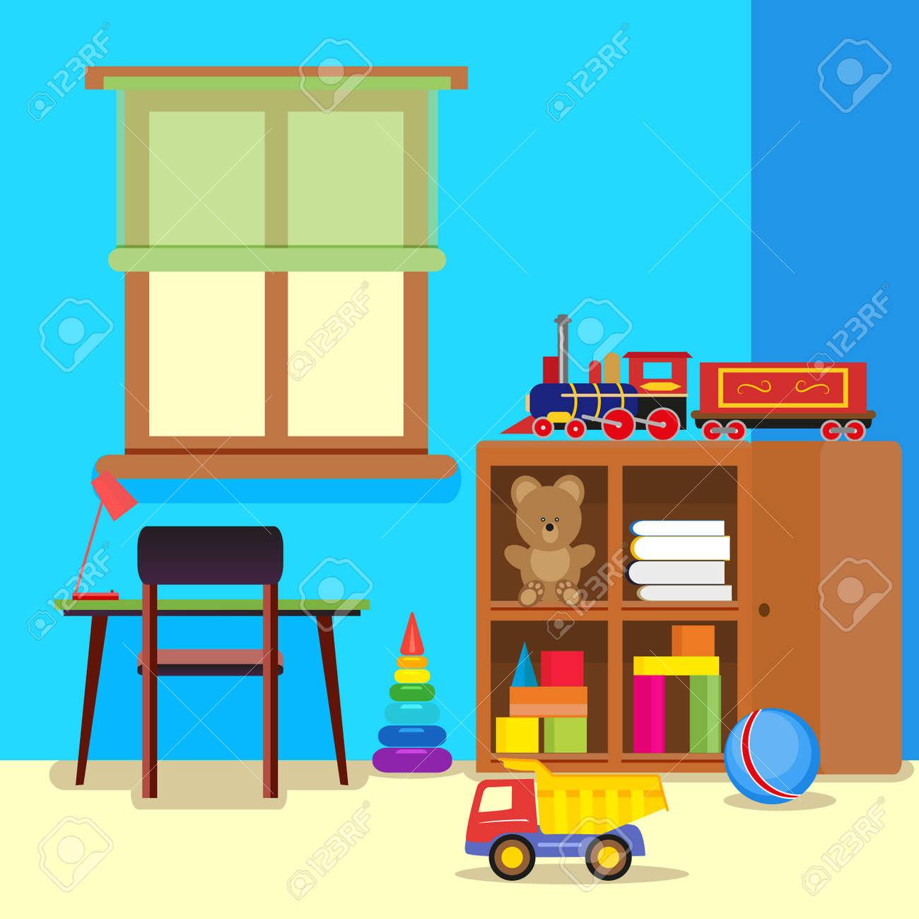 机と椅子 おもちゃでクローゼットの中のカラフルで可愛い子供部屋 フラット スタイルのイラスト のイラスト素材 ベクタ Image