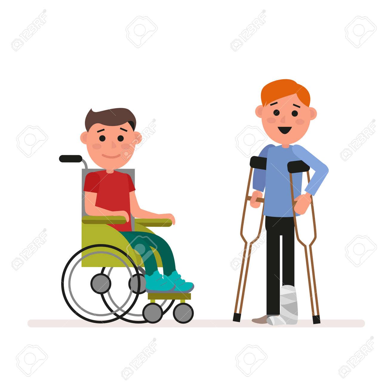 Niños con necesidades especiales o niños discapacitados. El muchacho está sentándose en una silla de ruedas. El niño está de pie con muletas.