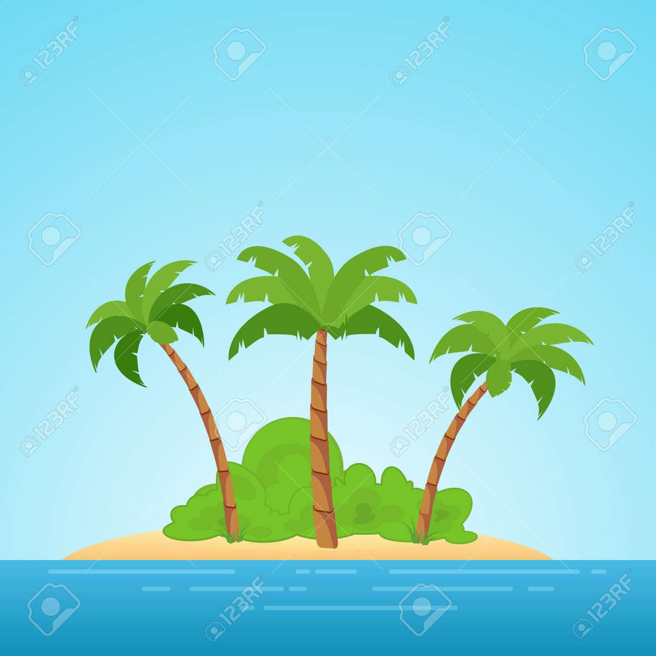 Paraíso En Hawaii. Isla Tropical En El Mar Con Palmeras Y Arbustos ...