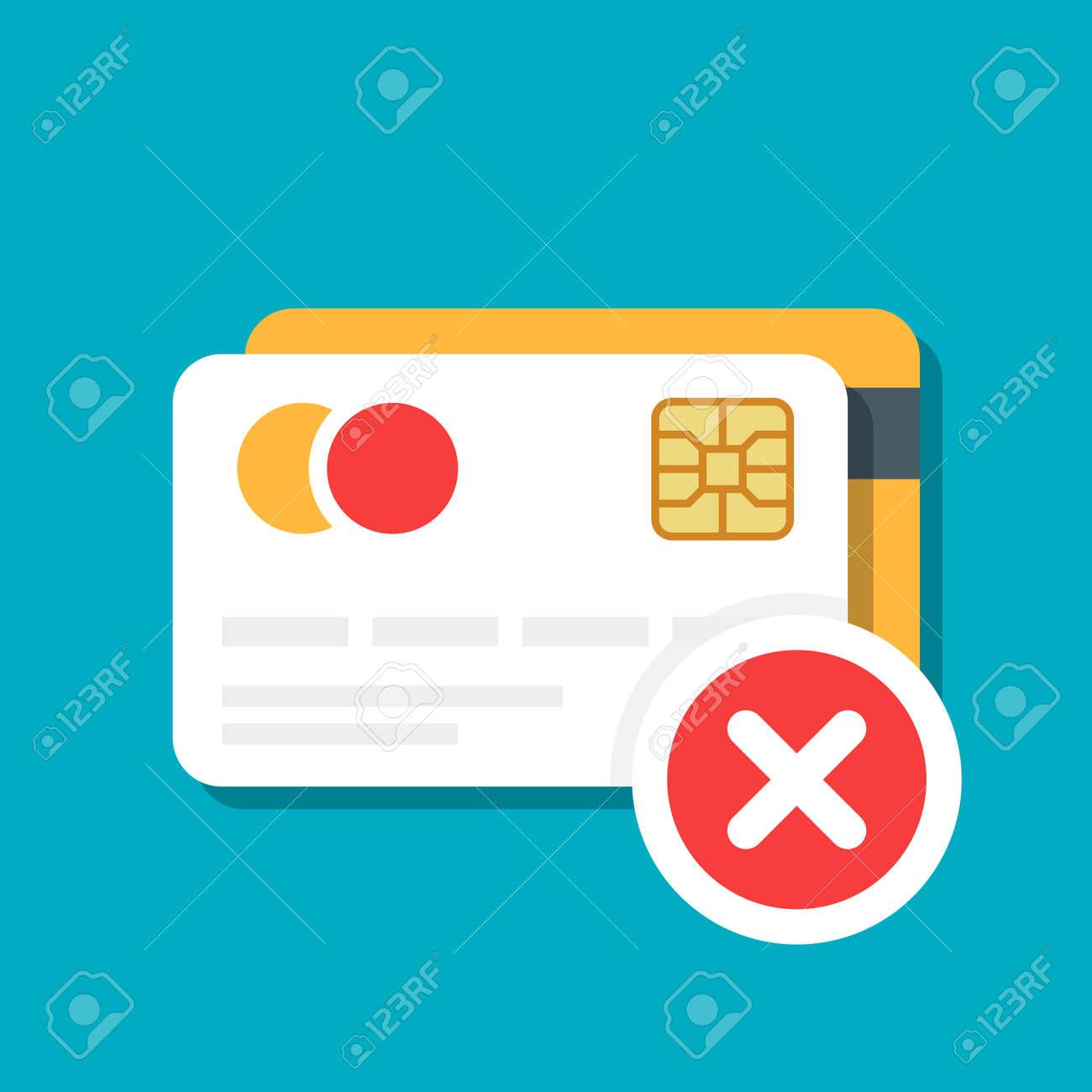 rejet paiement carte bancaire Carte De Débit Ou De Crédit En Plastique Avec Une Icône De Rejet