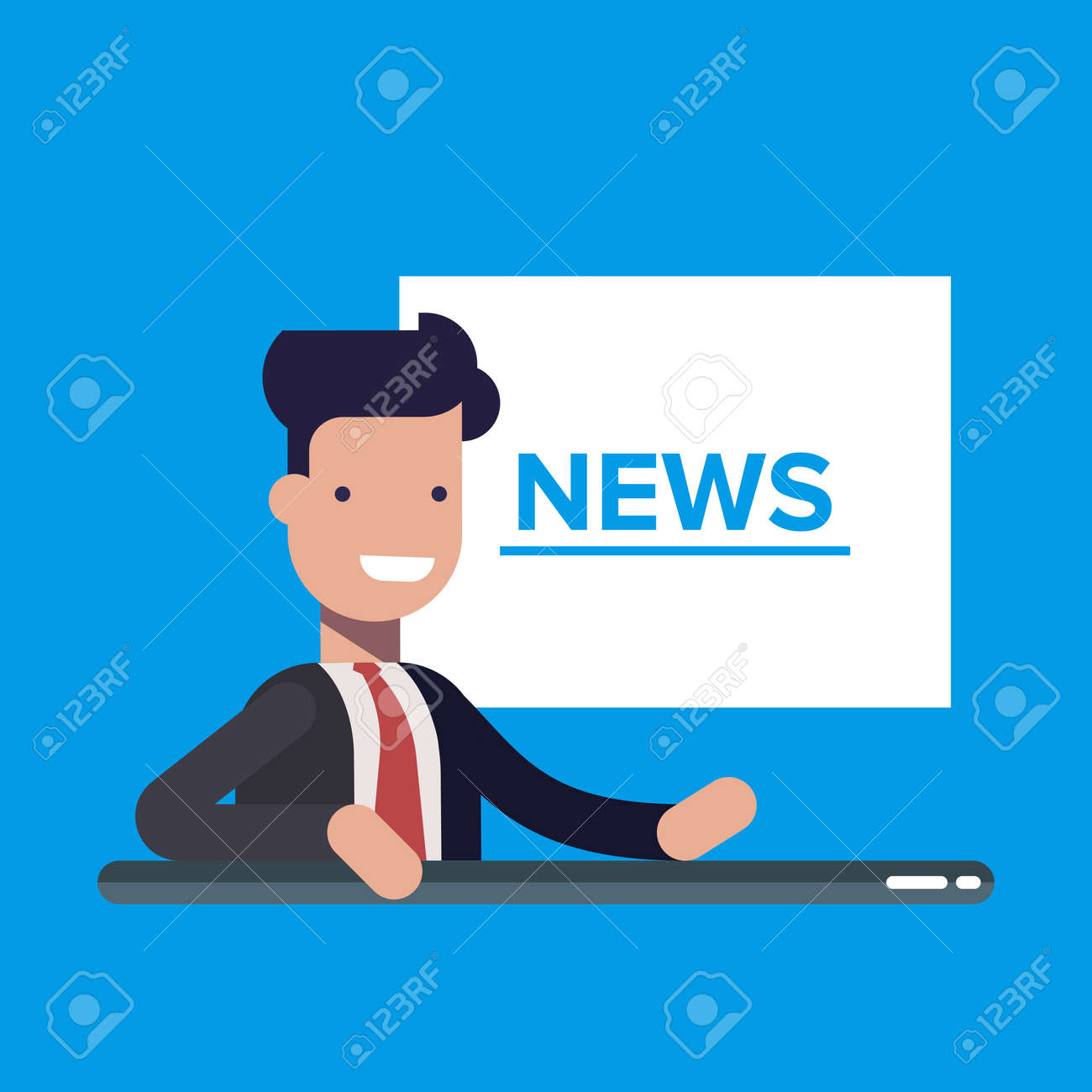 Television News Announcer On Background Tv Breaking News Flat